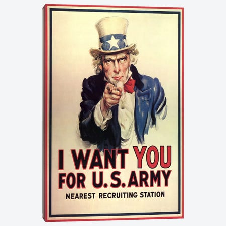 Uncle Sam: I Want You! Vintage Poster, J. M. Flagg Canvas Print #5052} by j. M. Flagg Canvas Artwork