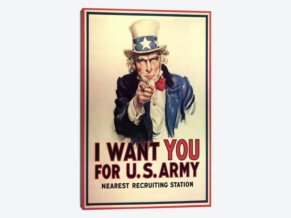 Uncle Sam: I Want You! Vintage Poster, J. M. Flagg by j. M. Flagg 1-piece Canvas Print
