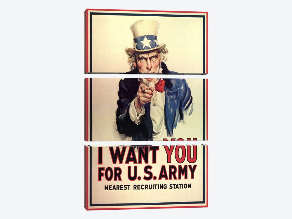 Uncle Sam: I Want You! Vintage Poster, J. M. Flagg by j. M. Flagg 3-piece Canvas Print