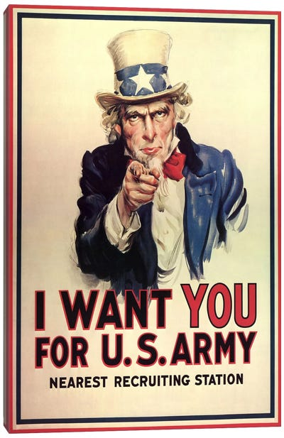 Uncle Sam: I Want You! Vintage Poster, J. M. Flagg Canvas Art Print