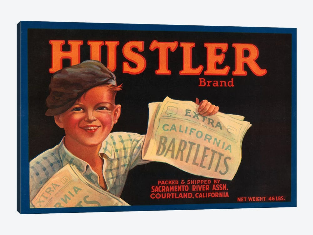Hustler Brand California Bartletts Label Vintage Poster 1-piece Canvas Wall Art