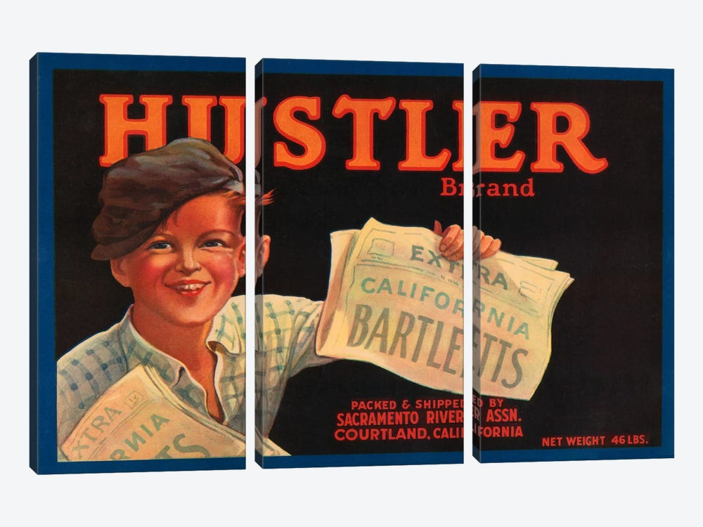 Hustler Brand California Bartletts Label Vintage Poster 3-piece Canvas Wall Art