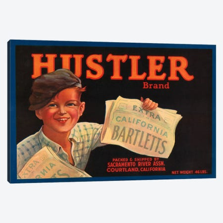 Hustler Brand California Bartletts Label Vintage Poster Canvas Print #5053} by Unknown Artist Canvas Wall Art