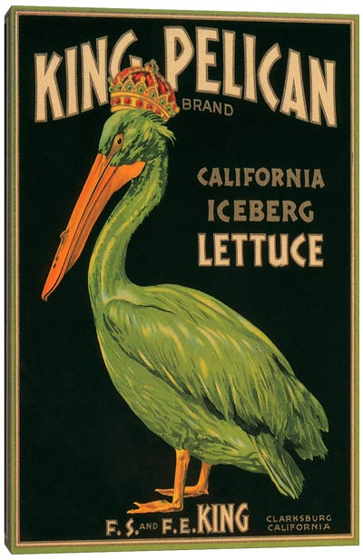 King Pelican Brand California Lettuce Label Vintage Poster Canvas Art Print
