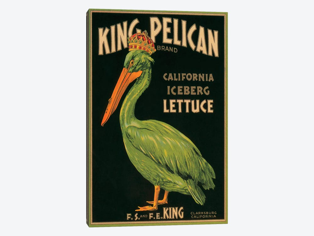 King Pelican Brand California Lettuce Label Vintage Poster 1-piece Canvas Print