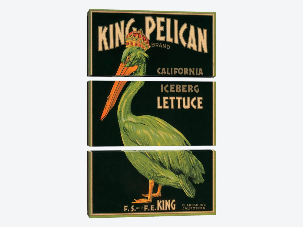King Pelican Brand California Lettuce Label Vintage Poster 3-piece Art Print