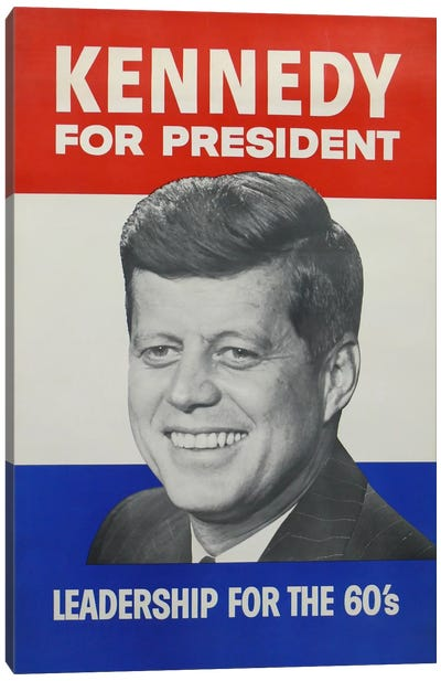 Kennedy For President Campaign Vintage Poster Canvas Art Print