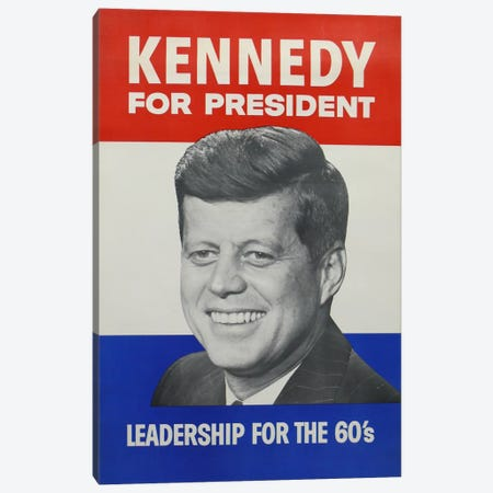Kennedy For President Campaign Vintage Poster Canvas Print #5057} by Unknown Artist Art Print