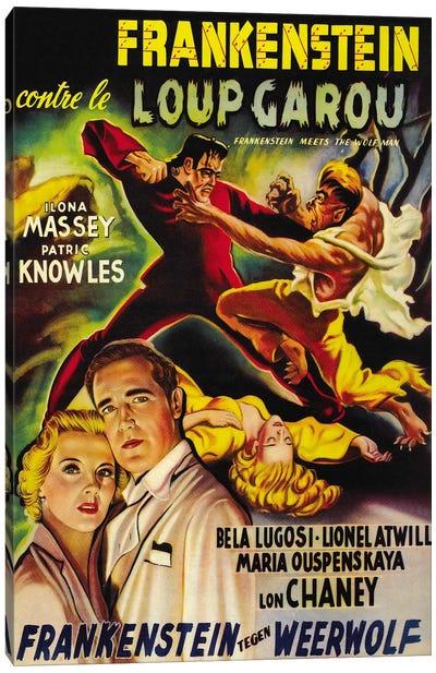 Frankenstein Meets The Wolf Man Movie Vintage Poster Canvas Art Print