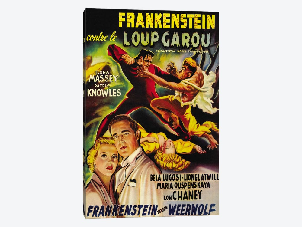 Frankenstein Meets The Wolf Man Movie Vintage Poster 1-piece Canvas Art