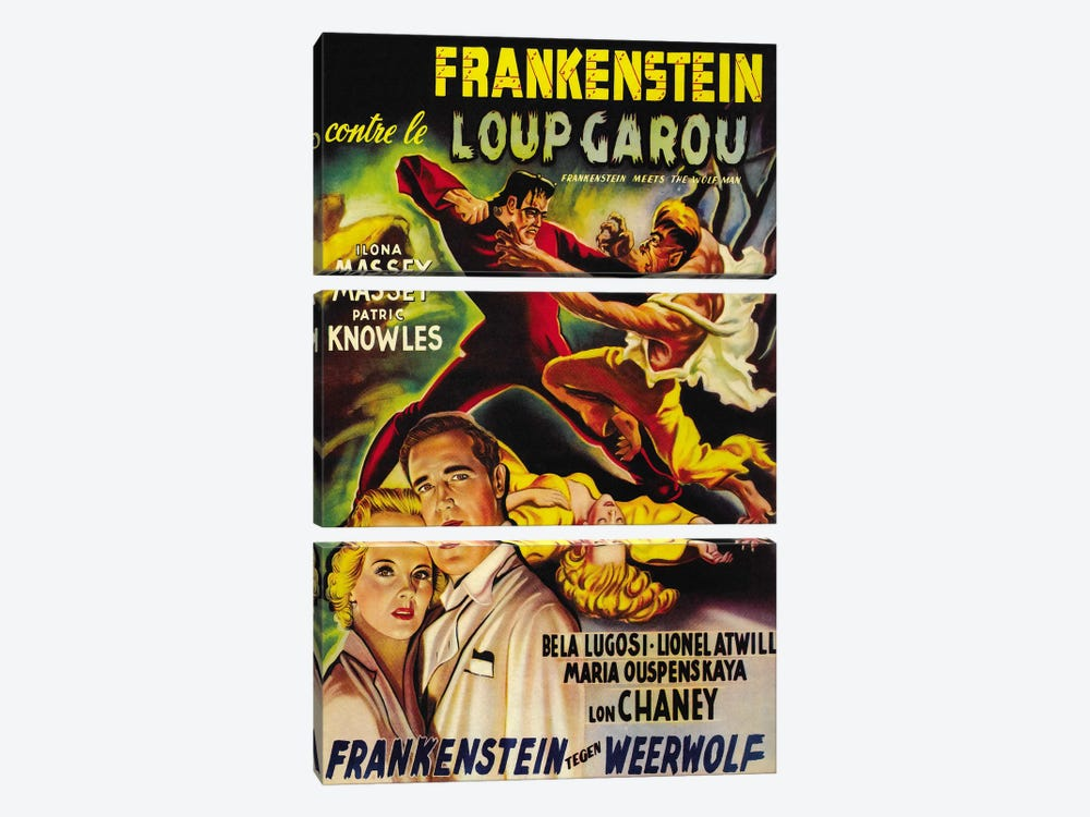 Frankenstein Meets The Wolf Man Movie Vintage Poster 3-piece Canvas Artwork