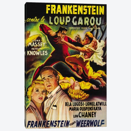 Frankenstein Meets The Wolf Man Movie Vintage Poster Canvas Print #5059} by Unknown Artist Canvas Wall Art