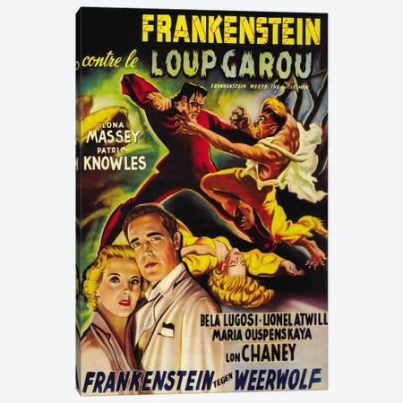 Frankenstein Meets The Wolf Man Movie Vintage Poster Canvas Print #5059} by Unknown Artist Canvas Wall Art