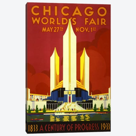 Chicago World's Fair 1933 Vintage Poster Canvas Print #5061} by Unknown Artist Canvas Art Print