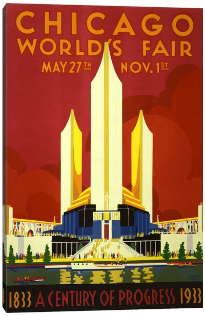 Chicago World's Fair 1933 Vintage Poster Canvas Art Print