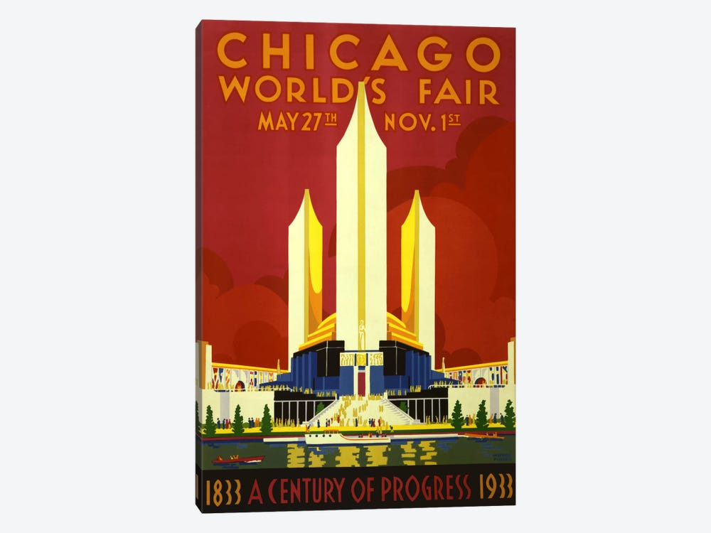 Chicago World's Fair 1933 Vintage Poster 1-piece Canvas Print