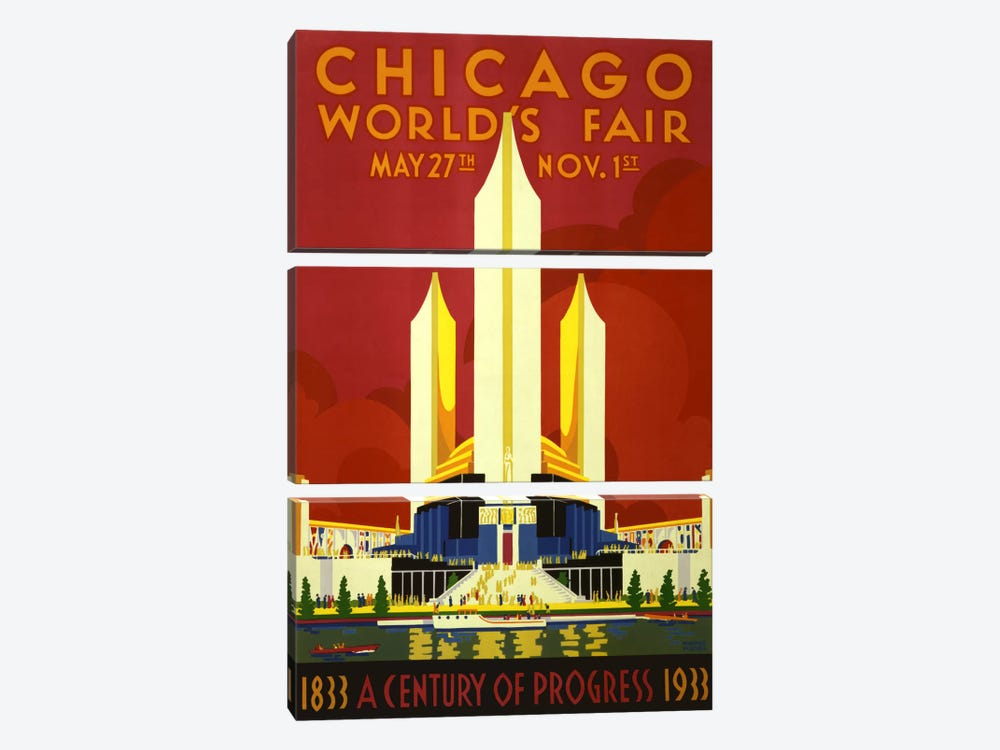 Chicago World's Fair 1933 Vintage Poster by Unknown Artist 3-piece Canvas Art Print