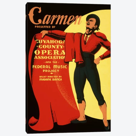 Carmen Opera Matador Vintage Poster Canvas Print #5063} by Unknown Artist Canvas Art Print