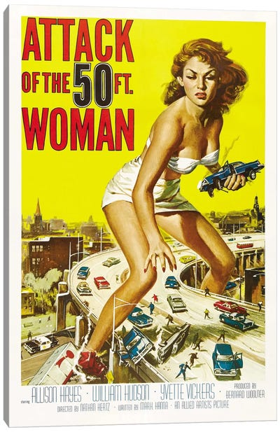 Attack of The 50 Foot Woman Vintage Movie Poster Canvas Art Print