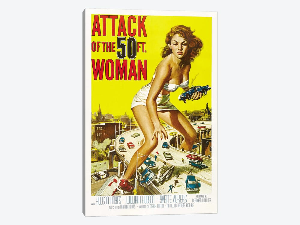 Attack of The 50 Foot Woman Vintage Movie Poster by Reynold Brown 1-piece Canvas Print