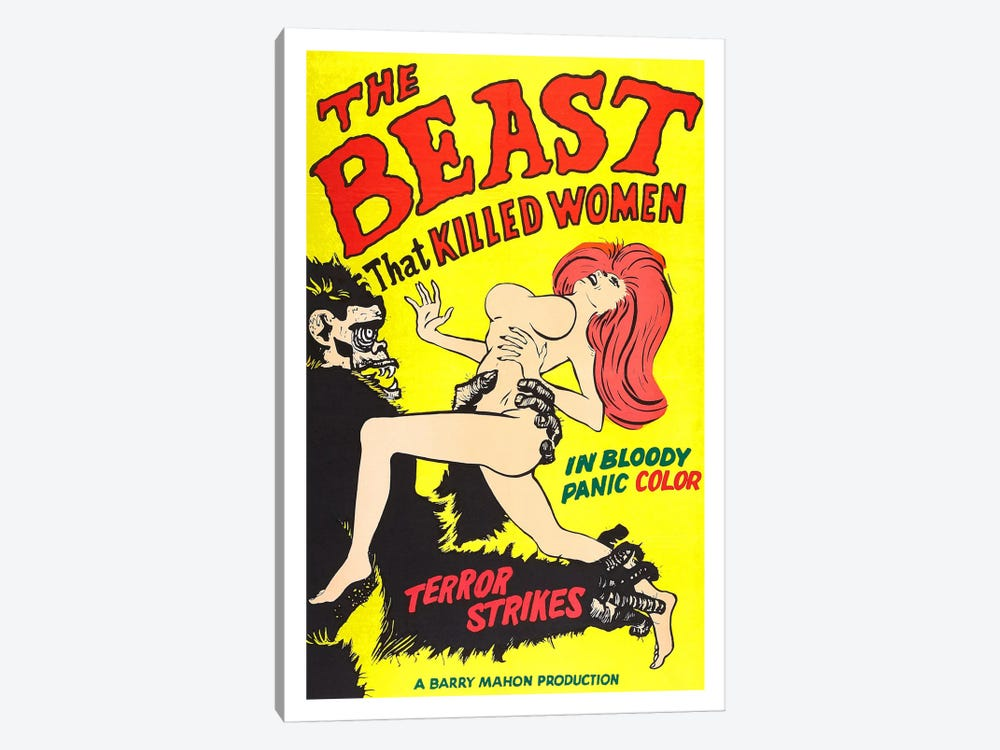The Beast That Killed Women Vintage Horror Movie Poster by Unknown Artist 1-piece Canvas Print