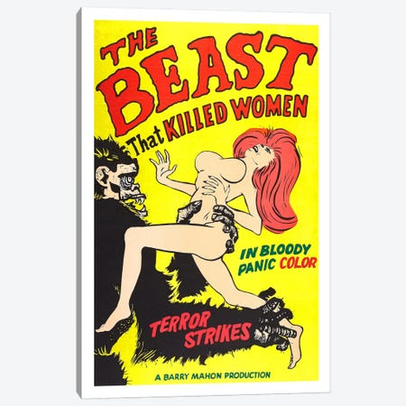 The Beast That Killed Women Vintage Horror Movie Poster Canvas Print #5070} by Unknown Artist Canvas Wall Art