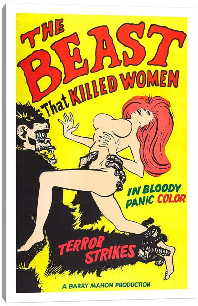 The Beast That Killed Women Vintage Horror Movie Poster Canvas Art Print