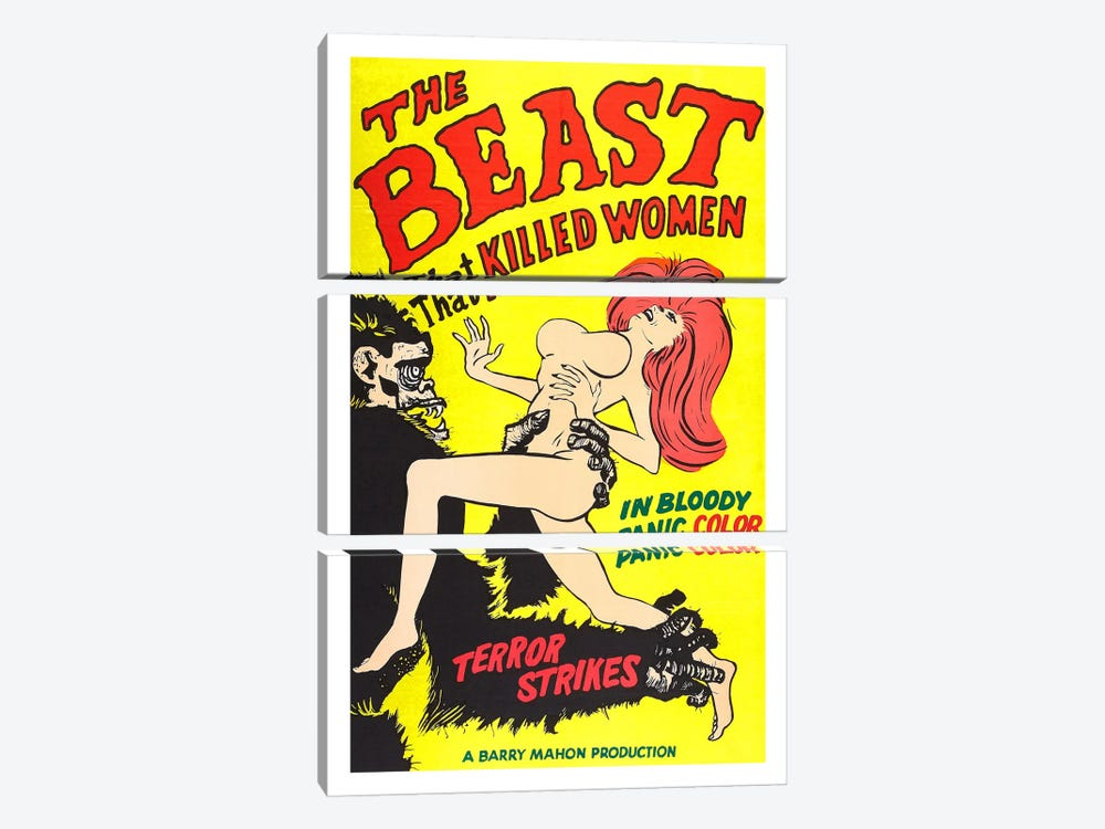 The Beast That Killed Women Vintage Horror Movie Poster 3-piece Canvas Art Print