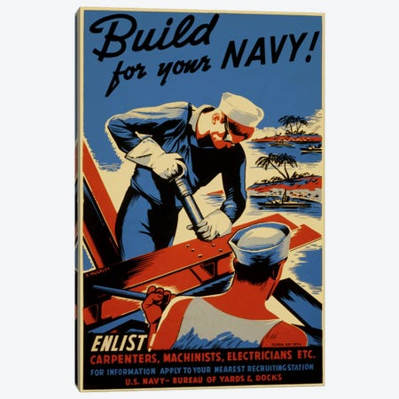 Build For Your Navy! Recruiting Vintage Poster Canvas Print #5075} Art Print