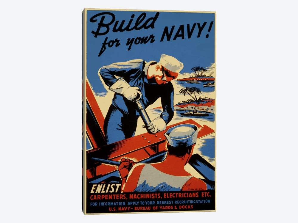 Build For Your Navy! Recruiting Vintage Poster by Unknown Artist 1-piece Canvas Artwork