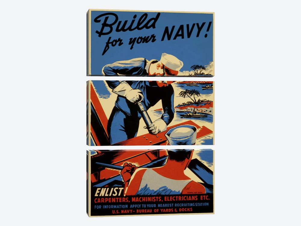 Build For Your Navy! Recruiting Vintage Poster 3-piece Canvas Wall Art