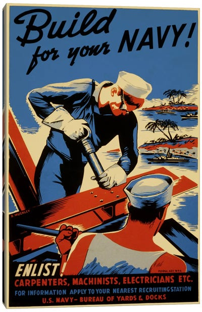 Build For Your Navy! Recruiting Vintage Poster Canvas Art Print