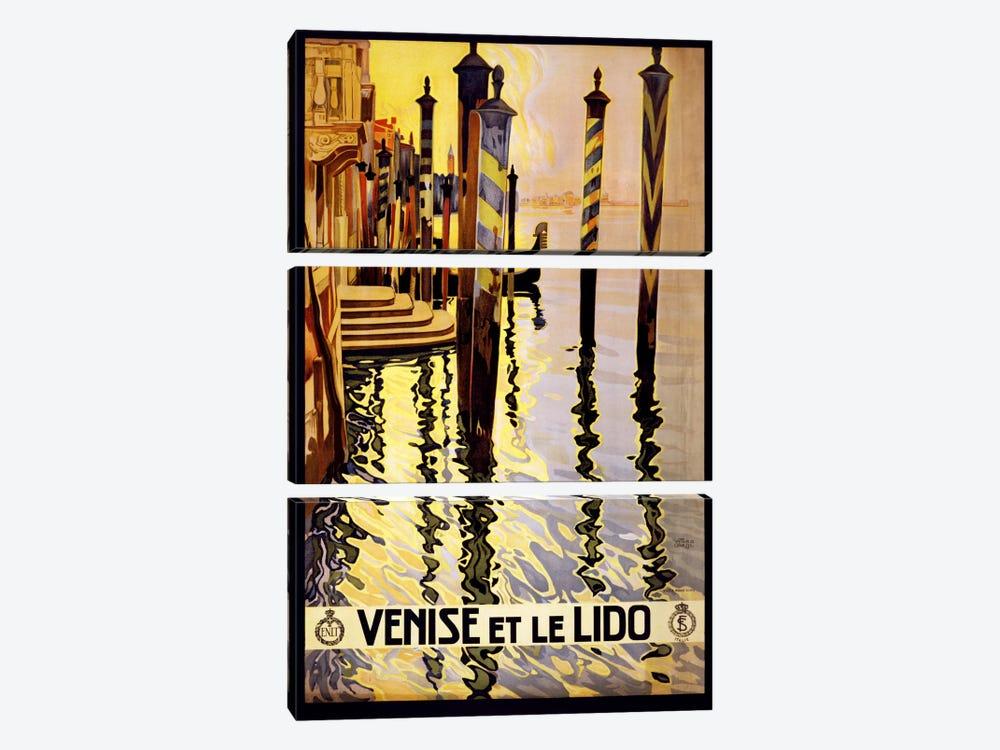 Venise Et Le Lido Venice Italy Vintage Travel Poster by Unknown Artist 3-piece Canvas Artwork