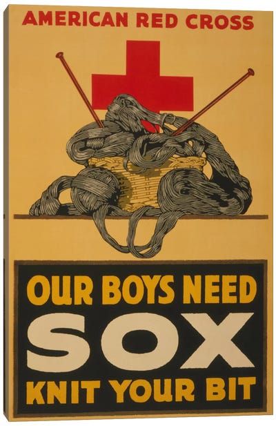 Our Boys Need Sox - Knit Your Bit American Red Cross Vintage Poster Canvas Art Print