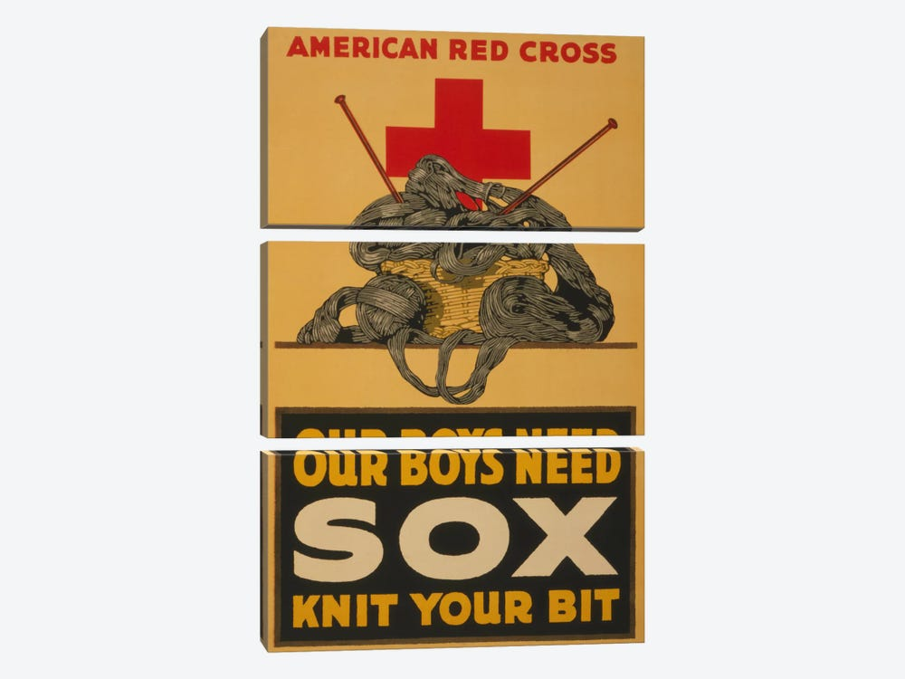 Our Boys Need Sox - Knit Your Bit American Red Cross Vintage Poster by Unknown Artist 3-piece Canvas Art Print