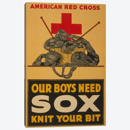 Our Boys Need Sox - Knit Your Bit American Red Cross Vintage Poster Canvas Print #5124} by Unknown Artist Canvas Art Print