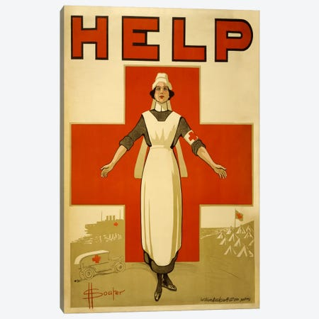 Help Australian Red Cross Vintage Poster Canvas Print #5126} by Unknown Artist Canvas Print