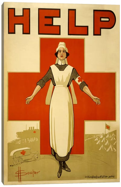 Help Australian Red Cross Vintage Poster Canvas Art Print