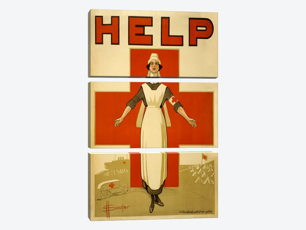 Help Australian Red Cross Vintage Poster 3-piece Canvas Print