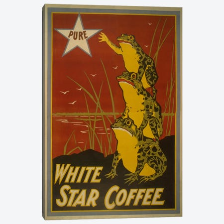White Star Coffee Brand Label Vintage Poster Canvas Print #5141} Canvas Art