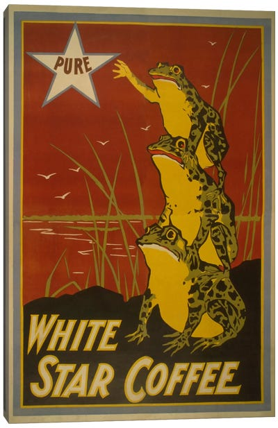White Star Coffee Brand Label Vintage Poster Canvas Art Print