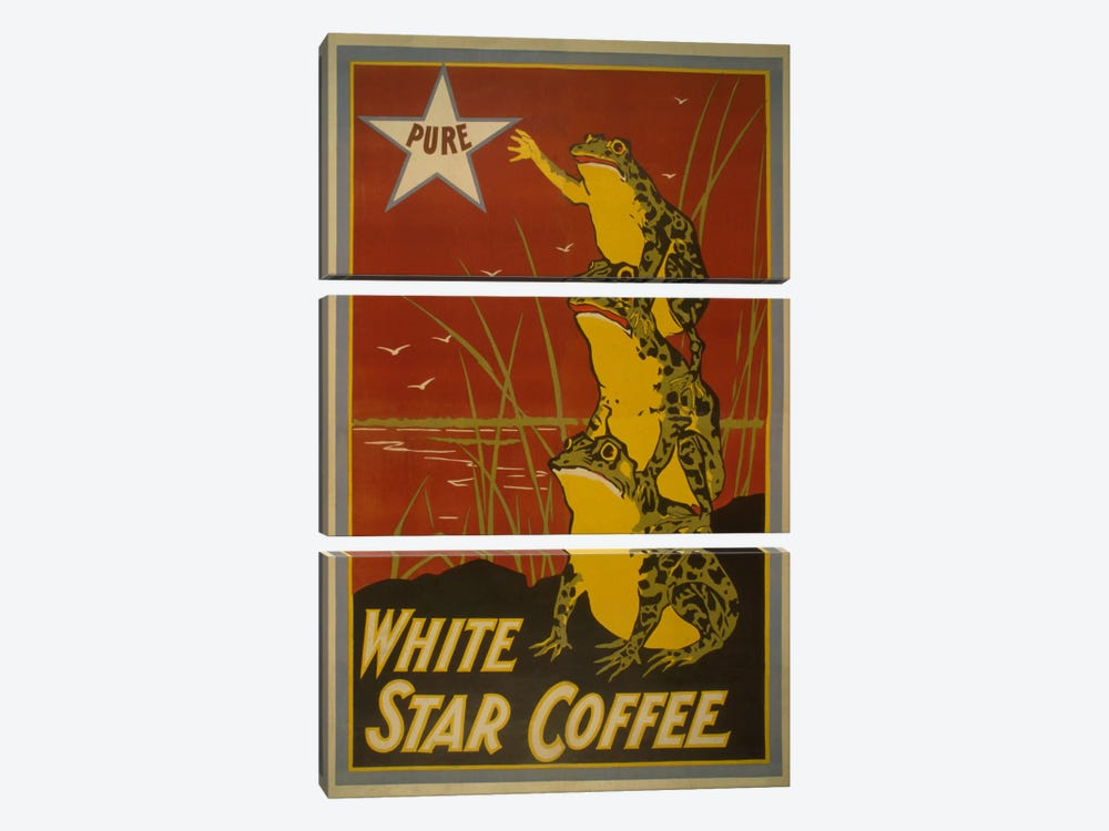 White Star Coffee Brand Label Vintage Poster 3-piece Canvas Art