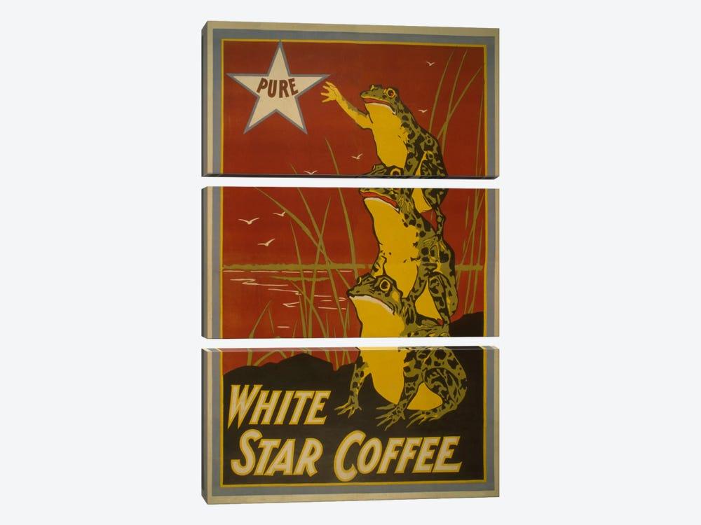 White Star Coffee Brand Label Vintage Poster by Unknown Artist 3-piece Canvas Art
