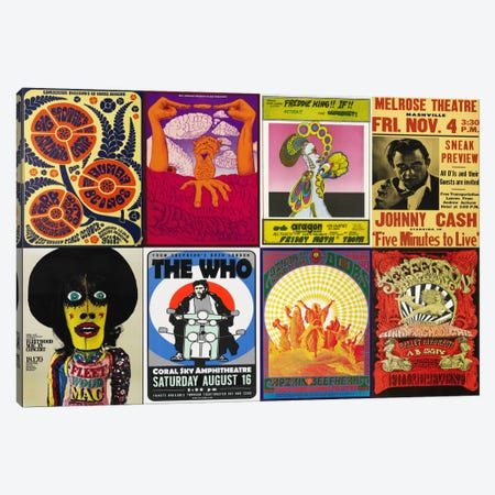 Johnny CashThe Who, Fleetwood Mac, The Doors, Jefferson Airplane Concert Poster Canvas Print #5147} Canvas Art Print