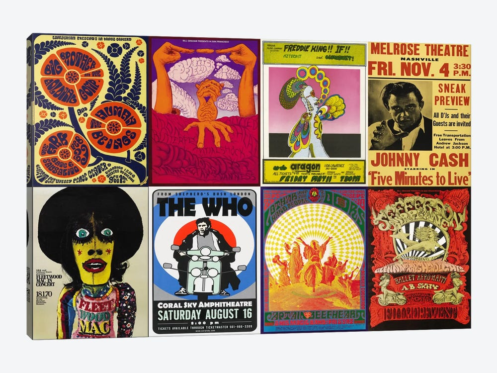 Johnny CashThe Who, Fleetwood Mac, The Doors, Jefferson Airplane Concert Poster by Unknown Artist 1-piece Canvas Artwork