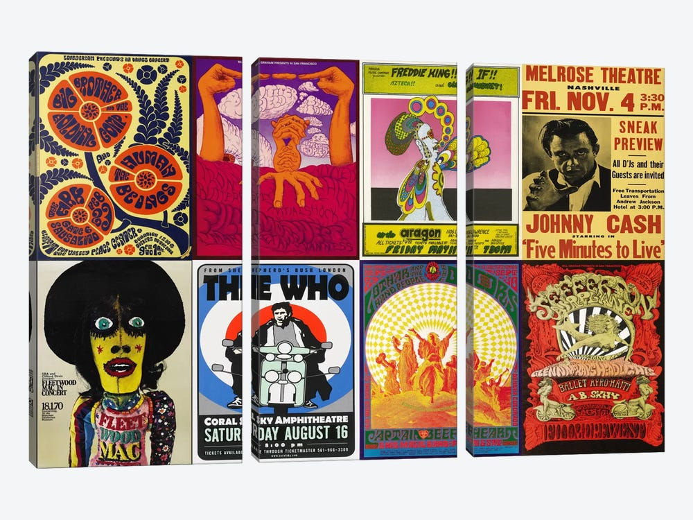 Johnny CashThe Who, Fleetwood Mac, The Doors, Jefferson Airplane Concert Poster by Unknown Artist 3-piece Canvas Art