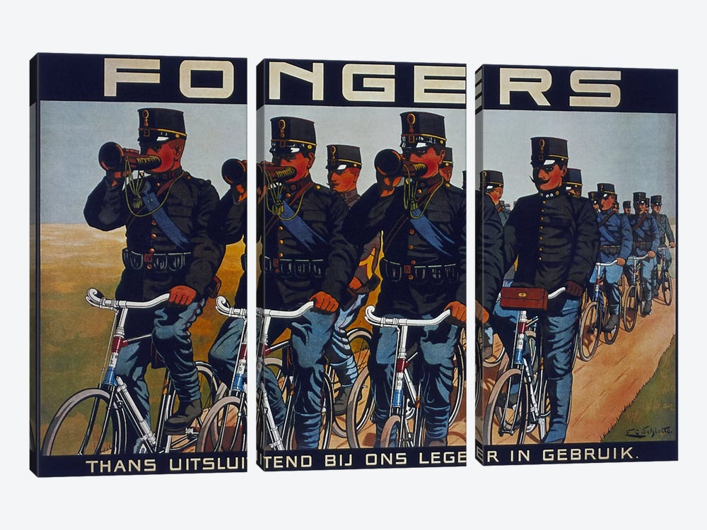Fongers Bicycle Advertising Vintage Poster 3-piece Canvas Art