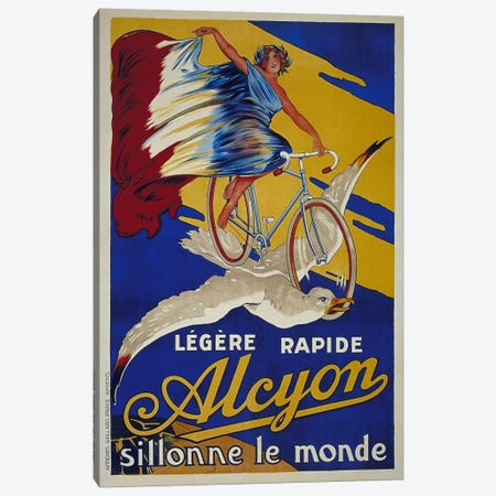 Alcyon French Bicycle Advertising Vintage Poster 3-Piece Canvas #5151} by Unknown Artist Art Print