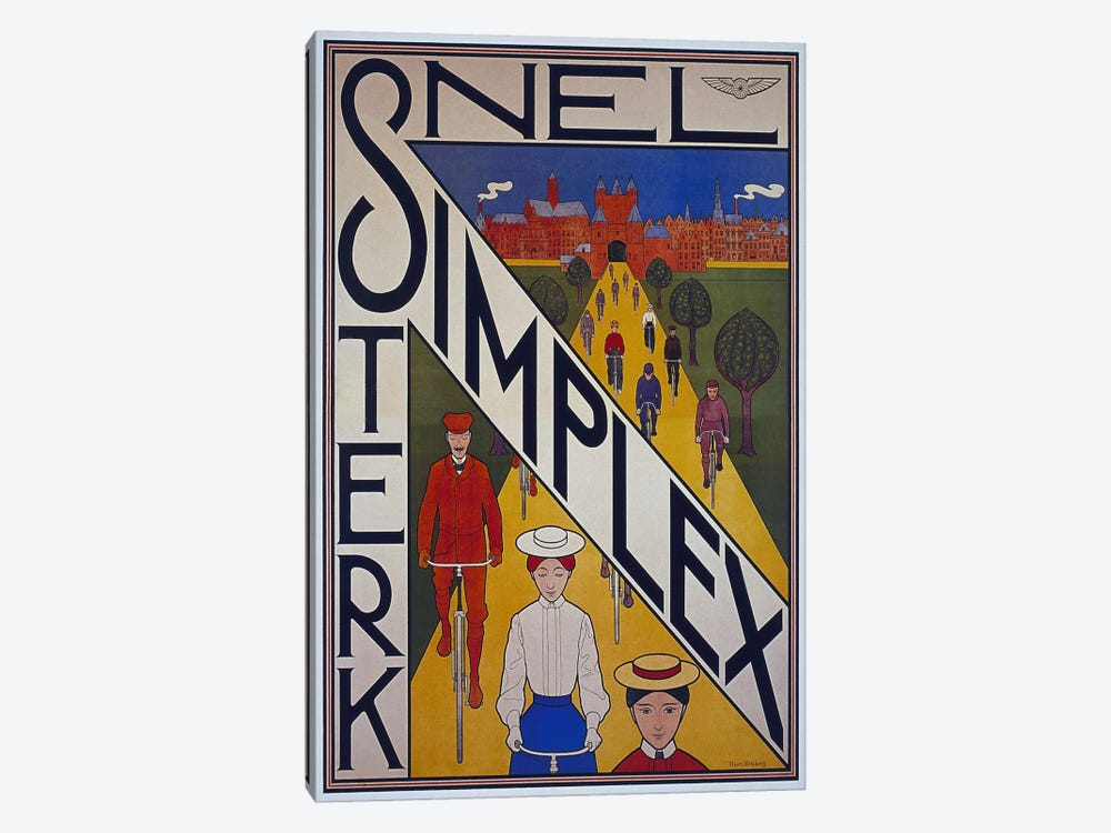 Snel Simplex Bicycle Advertising Vintage Poster by Unknown Artist 1-piece Canvas Wall Art