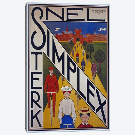 Snel Simplex Bicycle Advertising Vintage Poster 3-Piece Canvas #5152} by Unknown Artist Canvas Art Print